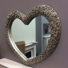 X Large Heart Mirror Stunning Ornate Elegant Mirror with decorative roses *NEW*